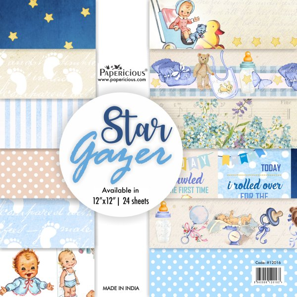 PAPERICIOUS - Star Gazer -  Designer Pattern Printed Scrapbook Papers / 24 sheets