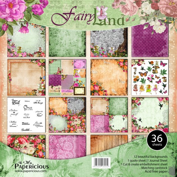PAPERICIOUS - The Fairyland -  Designer Pattern Printed Scrapbook Papers 12x12 inch / 36 sheets