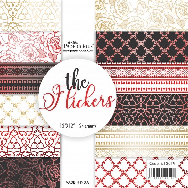 PAPERICIOUS - The Flickers - Golden Rosegold and Red Foiled Designer Pattern Printed Scrapbook Papers 12x12 inch  / 24 sheets