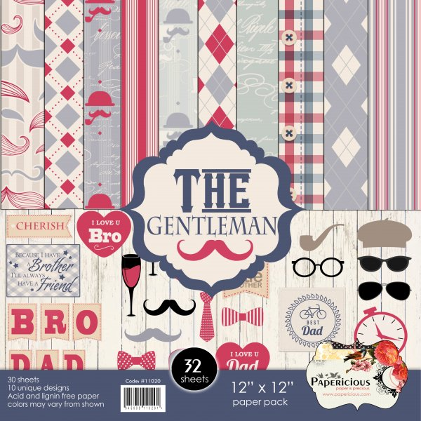 PAPERICIOUS - The Gentleman -  Designer Pattern Printed Scrapbook Papers  / 30 sheets