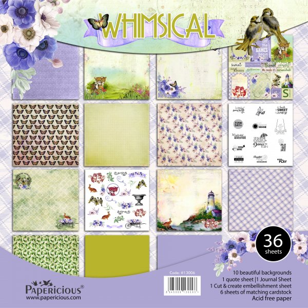 PAPERICIOUS - Whimscial -  Designer Pattern Printed Scrapbook Papers 12x12 inch / 36 sheets