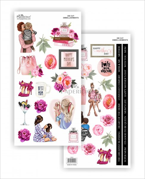 Papericious - Mother's Day -  Die Cut Embellishments - Motif Sheet