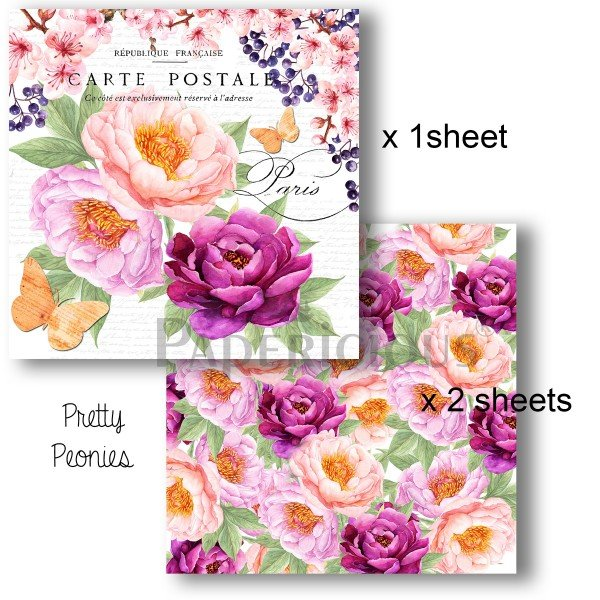 Papericious - Decoupage Papers - Pretty Peonies