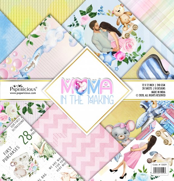 PAPERICIOUS - Mama in the Making -  Designer Pattern Printed Scrapbook Papers 12x12 inch  / 20 sheets