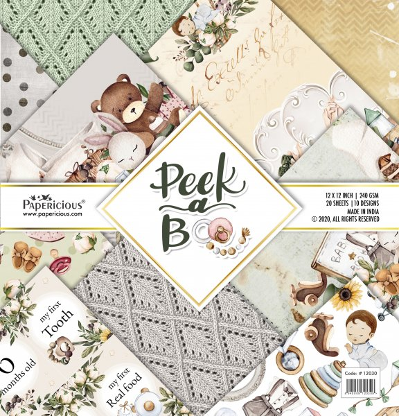 PAPERICIOUS - Peekaboo -  Designer Pattern Printed Scrapbook Papers 12x12 inch  / 20 sheets