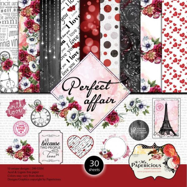 PAPERICIOUS - Perfect Affair -  Designer Pattern Printed Scrapbook Papers / 30 sheets