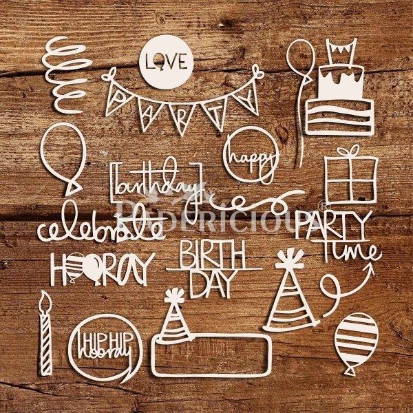 Lets Party - 6x12 Inch Laser Cut Theme Chipboard (1.4mm)
