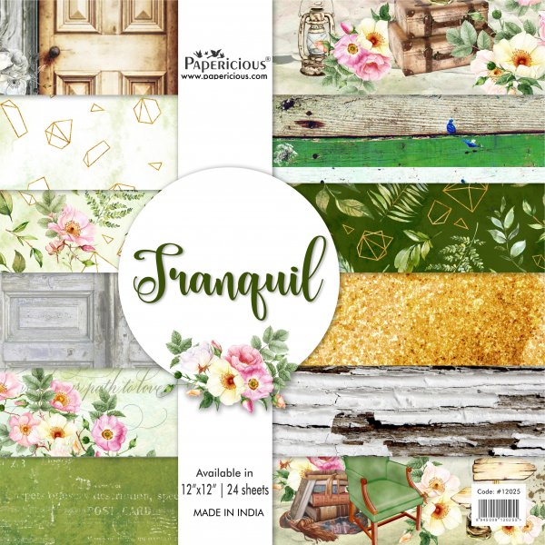PAPERICIOUS - Tranquil - Designer Pattern Printed Scrapbook Papers 12x12 inch  / 24 sheets