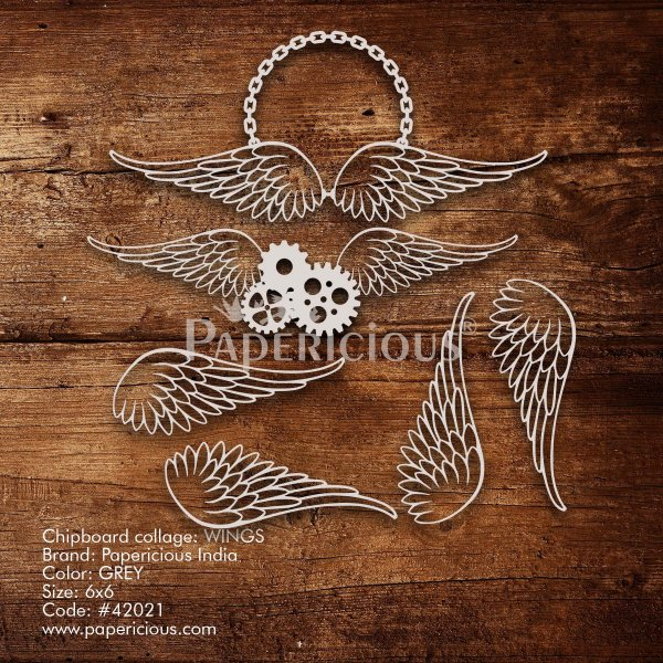 Wings - 6x6 Inch Laser Cut Collage Chipboard (1.4mm)