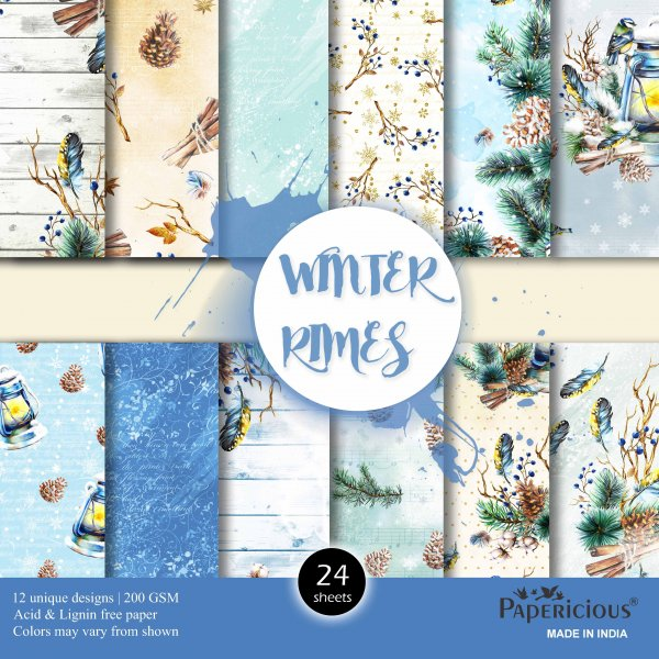 PAPERICIOUS - Winter Rimes-  Designer Pattern Printed Scrapbook Paper / 24 sheets