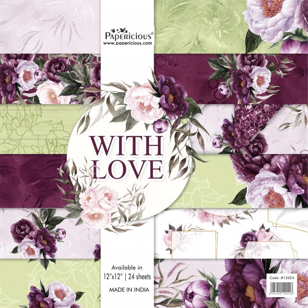 PAPERICIOUS - With Love - Designer Pattern Printed Scrapbook Papers 12x12 inch  / 24 sheets